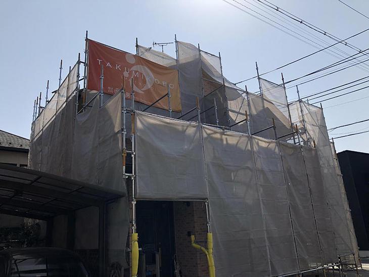 今日もいい天気です!外壁工事もはかどります!担当:山﨑・上田