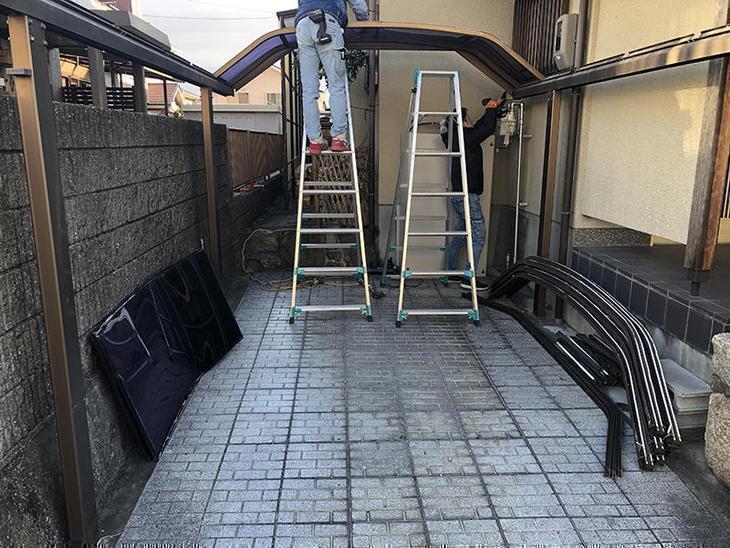 既存のカーポートを解体して、新しいカーポートを設置します!担当:山中・中島健太