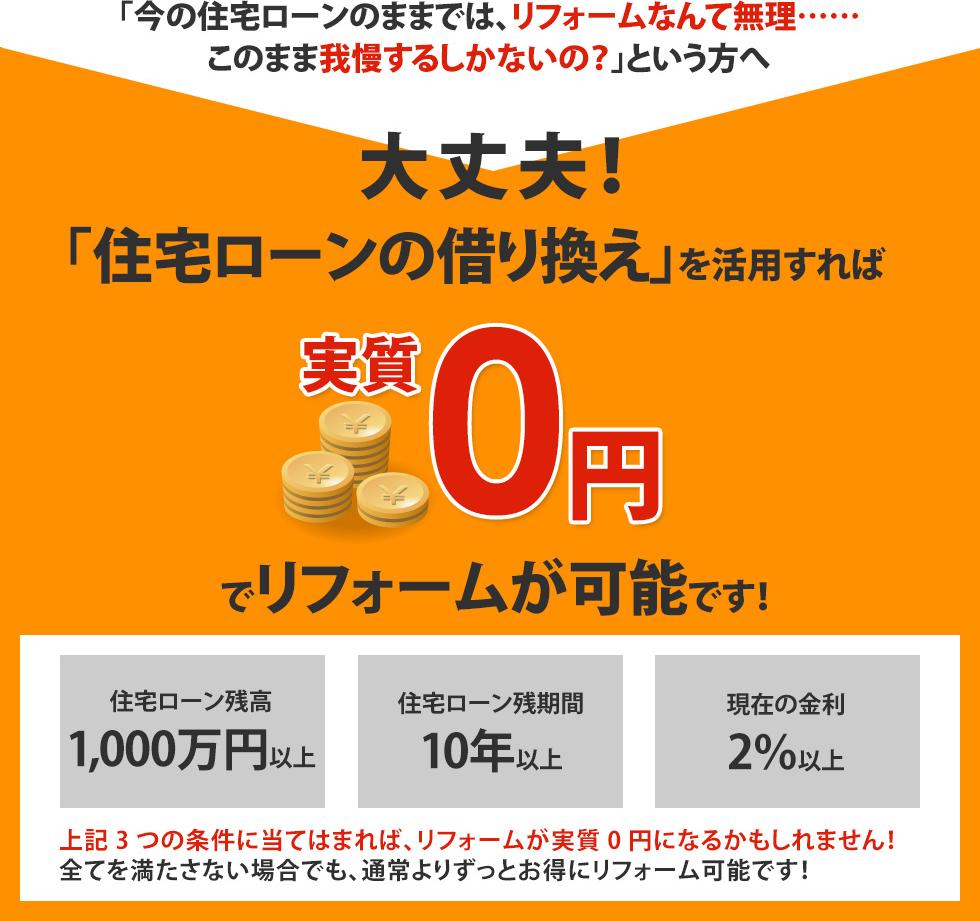 大丈夫!「住宅ローンの借り換え」を活用すれば実質0円でリフォームが可能です!