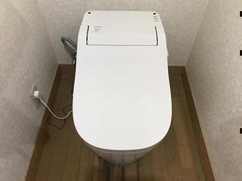スッキリしたトイレ室と明るい洗面台